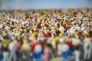 figures, crowd, model train